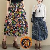 秋季款文藝印花做舊純棉牛仔裙半身 寬鬆加絨加厚半身裙A字裙