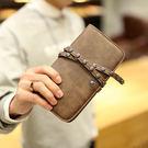 〈 서울역 首爾站 〉PU皮復古長款錢包 手機包潮流鉚釘中長款錢包 抽繩男女手機包