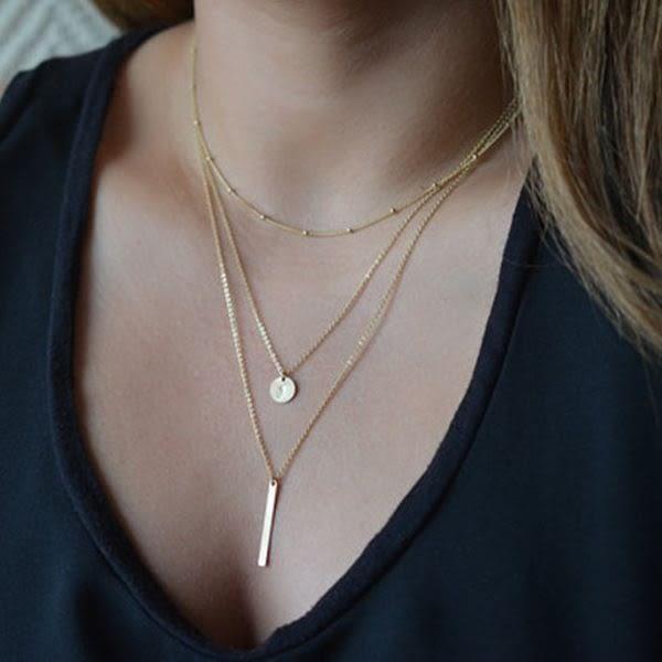 EDJ銀飾店-歐美經典多層項鍊(9123)