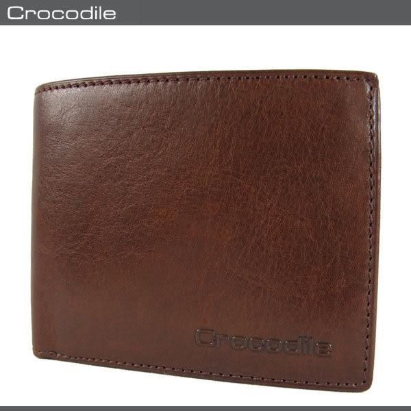 Crocodile  鱷魚 皮夾 Natural系列 咖啡色 8卡上翻短夾 原皮短皮夾 0103-58032 MyBag得意時袋