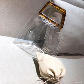 新款韓版網紅簡約時尚透明包包玳瑁手挽手提包果凍包女包 〖滿千折百〗