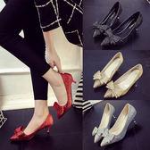 5cm新娘鞋紅色亮片中跟細跟尖頭蝴蝶結婚鞋淺口宴會單鞋女 森雅誠品