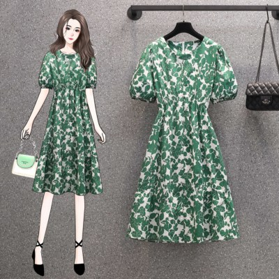 M-4XL胖MM大碼洋裝連身裙~大碼印花長裙~綠色碎花連衣裙氣質高腰泡泡袖裙子5107.R06B衣時尚