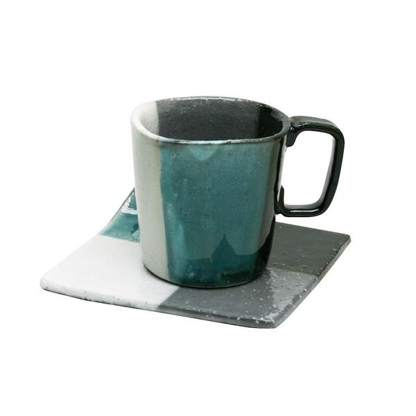 【日本製】日本製泉工藝市松系列 陶製馬克杯盤組 綠色 SD-6219 - 日本製 泉工藝市松 陶製馬克杯