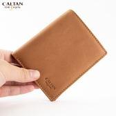 牛皮/長夾【CALTAN】俐落簡約款3卡左翻鈔票短夾1762ht