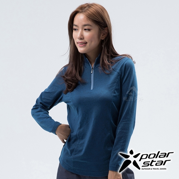 PolarStar 女 立領保暖長袖上衣『寶藍』 P18260 戶外│休閒││排汗│透氣│機能│保暖│高領│家居