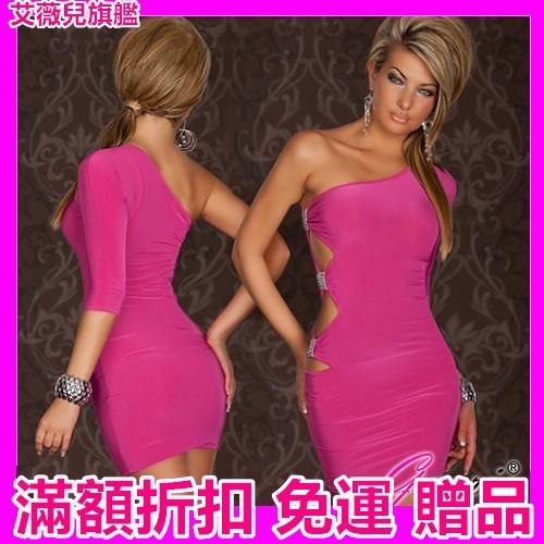 睡衣 緊身裙 連身裙 Gaoria 選秀佳麗 5分袖腰部水晶鑽飾 夜店服裝 緊身包臀