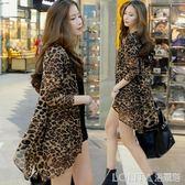 中長款不規則外搭女開衫夏大碼網紗披肩空調衫薄款豹紋防曬衣外套 LOLITA