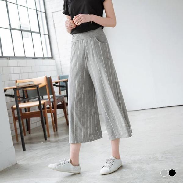 OB嚴選《BA3168-》台灣製造.腰圍鬆緊直條織紋休閒七分寬褲.2色--適 S~L