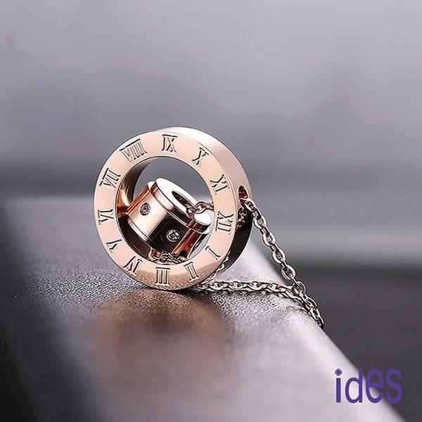 ides愛蒂思 歐美時尚設計羅馬數字雙環項鍊/羅馬假期(玫瑰金色)