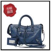 巴黎世家CITYS小銀扣手提/斜背機車包(藍色)431621全新商品