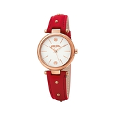 【Folli Follie】Cyclos柔雅氣質時尚真皮腕錶-赤紅款/WF18R001SPS_RE/台灣總代理公司貨享兩年保固