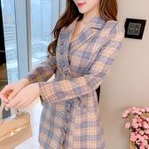 第二件4折 韓系氣質荷葉邊西裝領收腰配腰帶長袖洋裝