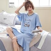 大碼睡裙莫代爾睡裙女夏季韓版清新學生純棉睡衣寬鬆加大碼胖mm夏天可外穿 嬡孕哺