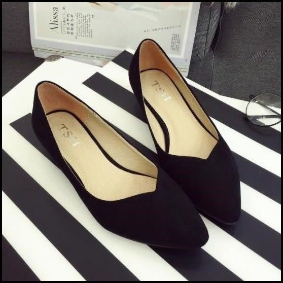 v口素面絨布質感麂皮尖頭低跟鞋中跟鞋高跟鞋女鞋工作鞋黑色(35-41)現貨