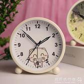 鬧鐘  簡約金屬鬧鐘創意靜音夜光可愛兒童女學生床頭鬧鐘臥室小鐘錶  『歐韓流行館』