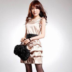 新款夏裝女裝 休閑浪漫玫瑰荷葉花邊OL氣質短袖連衣裙子