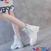 馬丁靴 米白色馬丁靴女英倫風秋冬季單靴2021年新款網紅瘦瘦靴短靴子厚底 寶貝計畫