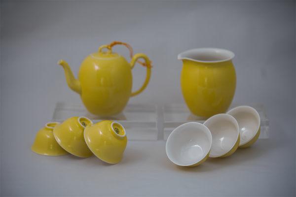 【鹿港窯】金黄茶具組-1壺1海6杯