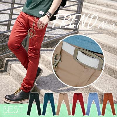 ∥柒零年代∥Spring Look【N7836J】韓版經典都會休閒品味skinny合身窄版休閒褲/色褲(Gar8303)