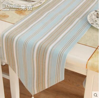 田園簡約現代日式韓國風條紋全棉織桌旗桌布椅套椅墊