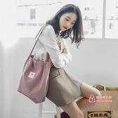 帆布包 2019新款帆布包包女單肩斜背韓版文藝小清新大容量手提購物袋 6色