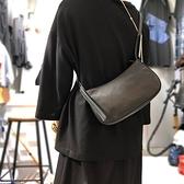 真皮側背包-牛皮時尚簡約黑色女肩背包73yn57【巴黎精品】