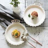 春季熱賣 北歐卡通金邊皇冠盤子早餐盤菜盤深盤牛排西餐意面盤美食拍攝道具 艾尚旗艦店