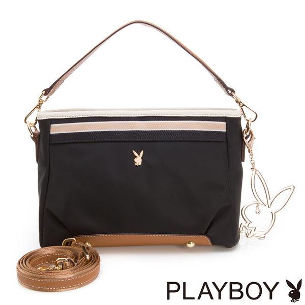 PLAYBOY-2WAY斜背包Hipster Girl質感玩家系列-個性黑