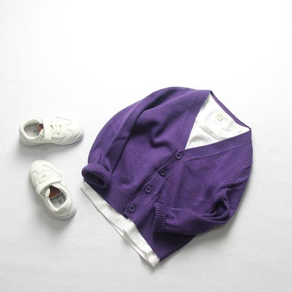 系ins春秋款兒童全棉毛線針織開襟男女童純棉紫色毛衣開襟外套【小梨雜貨鋪】