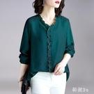 大尺碼襯衫 女設計感秋新款墨綠色V領長袖上衣輕熟打底衫衣 EY9551 【科炫3c】