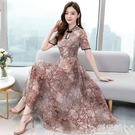 雪紡連身裙旗袍改良版連身裙女夏2020年新款雪紡碎花貴夫人媽媽遮肚大碼裙子 噯孕哺