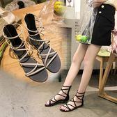 2018夏季新款韓版百搭平底交叉帶羅馬涼鞋簡約純色波西米亞風涼靴 晴光小語