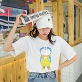 夏季新款韓版純棉T恤短袖女百搭寬松大碼印花卡通上衣圓領學 快速出貨