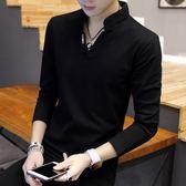男士t恤長袖V領上衣服小衫 秋裝韓版修身加絨打底衫潮流衛衣