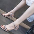 一字帶涼鞋女仙女風性感細跟時裝高跟鞋設計感小眾2021年新款夏