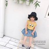 女童韓版卡通眼鏡印花個性T恤 水洗牛仔短裙兩件套