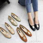 平底單鞋新款巴洛克金屬韓風方頭復古百搭淺口軟底奶奶鞋     瑪奇哈朵
