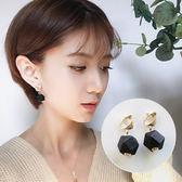 美系黑色菱形木質耳環 耳針JET7304