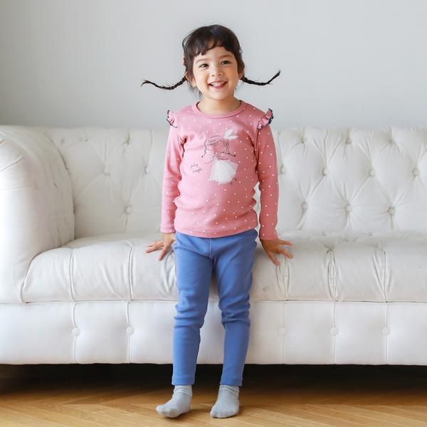 女童睡衣套裝二件組 20支棉荷葉邊九分袖上衣+長褲 粉點點 | 正韓童裝 (兒童/小孩/小朋友/幼童)