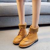 新款秋冬韓版毛線口短靴百搭女靴文藝森系chic馬丁靴女英倫風 至簡元素