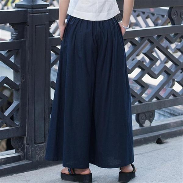 秋季女裝 民族風棉麻高腰2020純色闊腿褲 寬鬆顯瘦大腿褲裙褲 萬聖節狂歡價