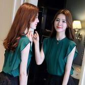雪紡衫女夏新款韓版時尚寬鬆百搭荷葉邊大碼女裝T恤無袖上衣