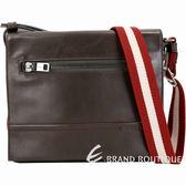 BALLY TAMRAC 小型牛皮紅白織帶郵差包(咖啡色) 1830523-07