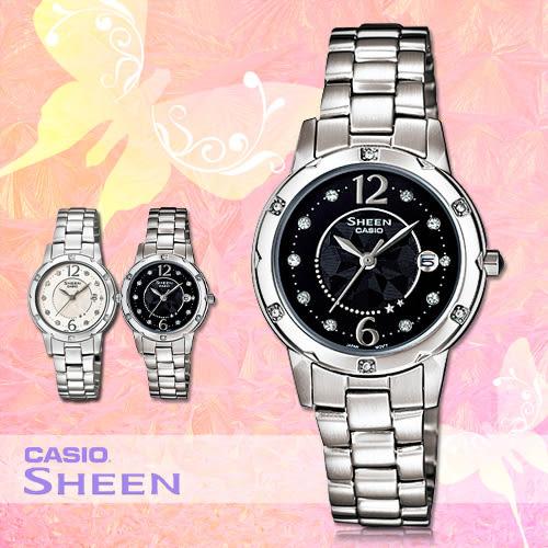 CASIO手錶專賣店 卡西歐 SHEEN SHE-4021D-1A 女錶 施華洛世奇 珍珠母貝錶盤 不鏽鋼錶帶