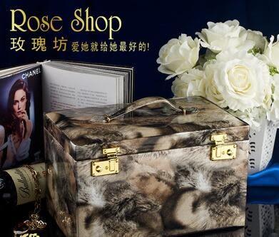 高檔首飾盒大歐式極品化妝盒珠寶盒飾品收納盒帶鎖居家收納送禮品
