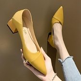 低跟鞋 粗跟單鞋女低跟小香風2021年新款春款高跟鞋設計感小眾氣質不累腳 非凡小鋪 新品