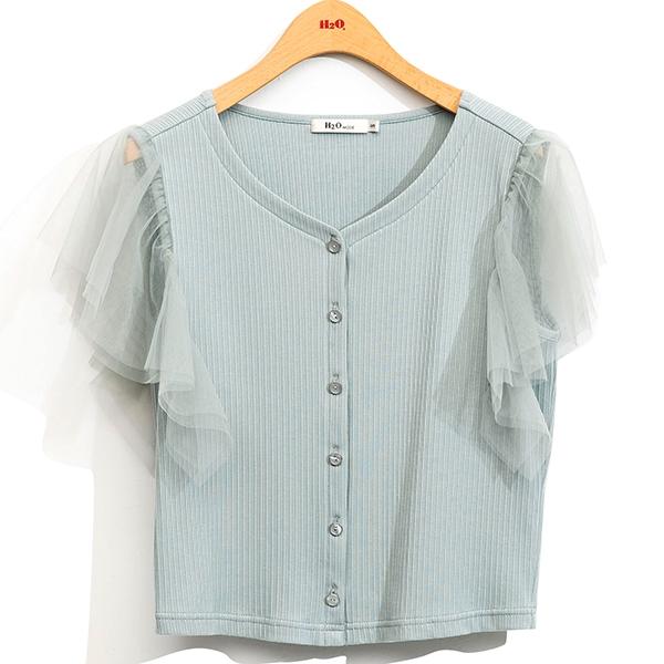 H2O 初夏 可兩穿網紗拼接波浪袖針織上衣 - 白/粉紫/灰綠色 #1671012