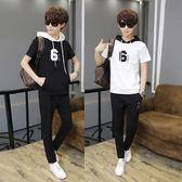 中大尺碼 夏裝學生短袖T恤男夏季連帽運動套裝男孩兩件套 zm1351『男人範』