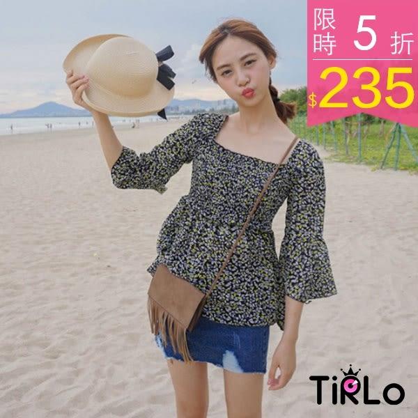 雪紡上衣-Tirlo-輕甜巴黎荷葉袖ㄇ形領口雪紡上衣-兩色(現+追加預計5-7工作天出貨)